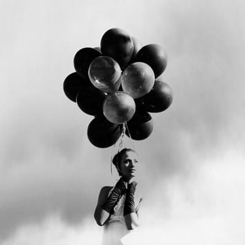 Fashion Photography Black and White Fashion Photography Mod Girl with Black Balloons