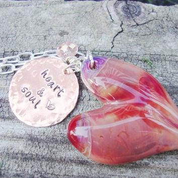 Heart and soul hand stamped brass necklace with gorgeous boro glass heart and crystal
