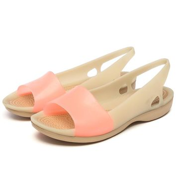 Rainbow Jelly Shoes Women Wedges Sandalias Woman Sandals Summer New Candy Color Peep Toe Stappy Beach Valentine Mujer Slippers