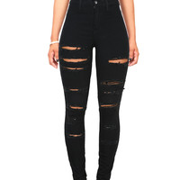 Patch Cut High Waist Skinny Jeans