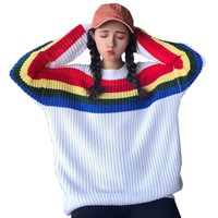 Fashion Autumn And Winter New Women'S Sweater Rainbow Stripes Round Neck Long Sleeve Loose Loose Sweater