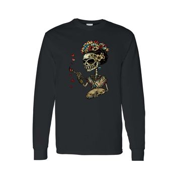 Unisex Sugar Skull Painting Heart Katrina Frida Long Sleeve T-shirt