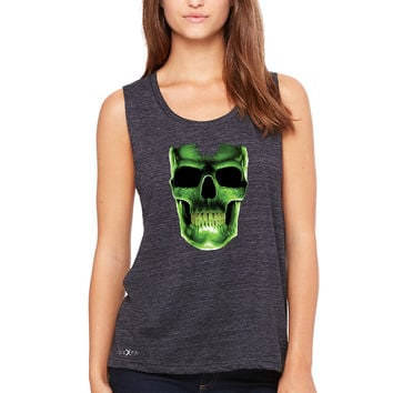 Zexpa Apparel™ Skull Glow In The Dark  Women's Muscle Tee Halloween Event Costume Tanks
