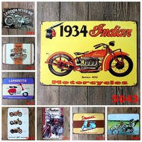 Retro Metal Motorcycle License Plate Electrombile Vintage Wall Art Painting Plaque Poster Car Garage Home Decor Metal Tin Signs