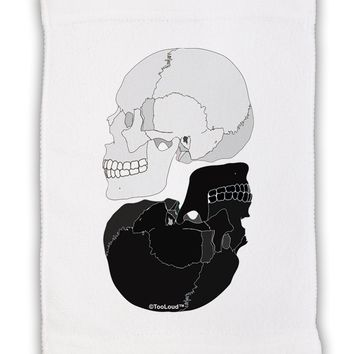 """White And Black Inverted Skulls Micro Terry Sport Towel 11""""x18 by TooLoud"""