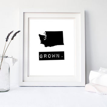 Washington Grown Home State Print, Custom map, Personalized map, Printable, Digital Download, hometown, typewriter, stamp, State typography