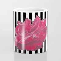 Red Rose on Stripes Coffee Mug by drawingsbylam