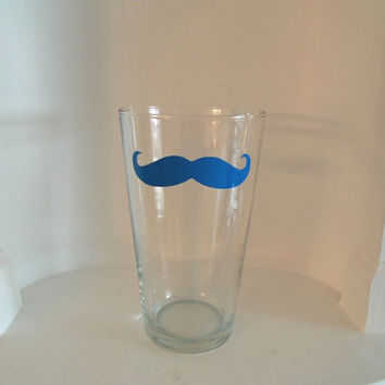 Colored Mustache Pint Glass - Housewares - Glassware - Barware - Choose Blue, Pink, Yellow or Red