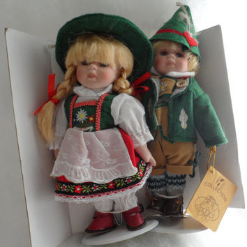 "Circa 1960s-RARE GERMAN Girl and Boy Blonde Hair-Blue Eyed Dolls-PORCELAIN Souvenir Dolls-""rf-Collection""-From Germany-Rare Estate Find"