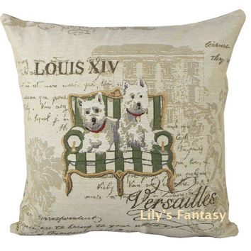 Retro Vintage West Highland White Terrier Dog Home Decorative Thick Knitted Cotton Linen Pillow Case Cushion Cover 18'' 45CM