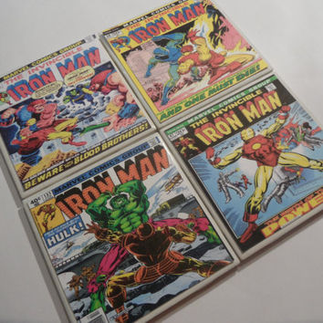 Iron Man Comic Book Cover Ceramic Coasters - set of 4