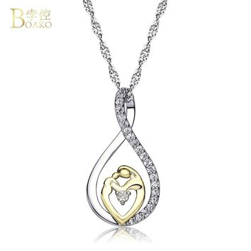"BoAKO Mother and Child Love ""Mom""Pendant Necklace for Women Fashion AAA Zircon Charm Necklace of Mother's Day Gift collier femme"