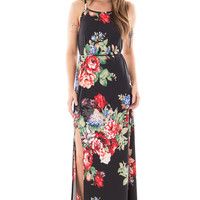 Black Sleeveless Floral Maxi Dress with Slit Detail