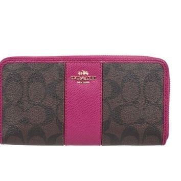 One-nice™ Coach 52859 Signature PVC Leather Accordion Zip Around Wallet in Brown & Pink Ruby
