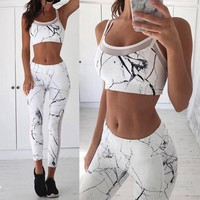 Marble Prints Yoga Pants+Gym Bra Set