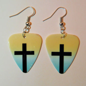 Yellow Blue Ombre Cross guitar pick earrings Easter jewelry Jesus He is Risen Savior Christian