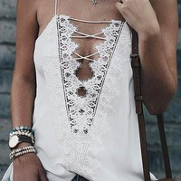 White Lace Criss Cross Lace Detail Cami Top