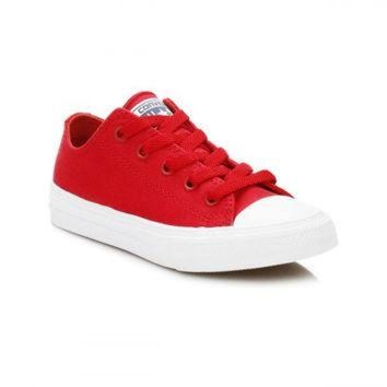 DCKL9 Converse All Star Chuck Taylor II Junior Salsa Red/White Ox Trainers