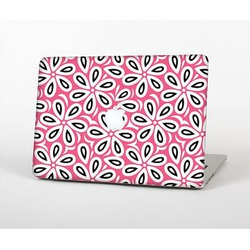 The Pink and Black Vector Floral Pattern Skin Set for the Apple MacBook Air 13""