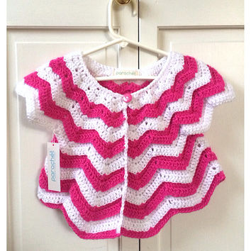 Easter Dress Cover 12 Month Sweater - Crochet Pink and White Chevron Sweater for Toddler