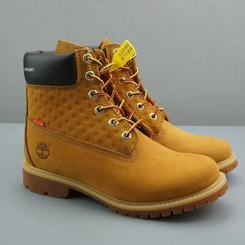 Supreme x Timberland Leather Lace-Up Icon Premium Boot High Yellow Black