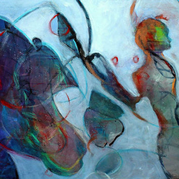 "Expressionist Abstract Painting Contemporary Figure ""Company of the Muses"""