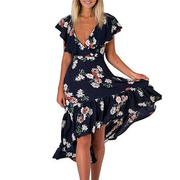 Women Deep V Neck Backless Back Strap Floral Printed Ruffle Slim Long Dress Casual Elegant Vestidos Sexy
