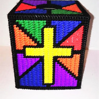 Stained Glass Cross, Tissue Box Cover, Plastic Canvas Box, Needle Point Box, Religious Decor, Religious Gift, Easter Gift, Spiritual Decor