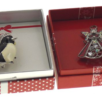 Action Alley Fashion Broach Pin Set of 2 Penguin Angel Gift Box Holiday