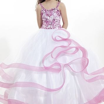 White/pink Ball Gown Crystal pageant dresses for girls glitz pink prom dresses for little girls Children long flower girl  2015