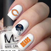 Chicago Bears football nail decal 50pc