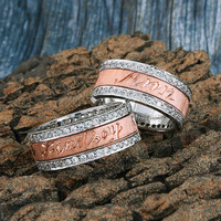 Sterling Silver Spinning Ring with Desert Diamond – 18KT Rose Gold Plated