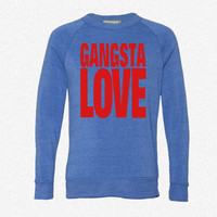 GANGSTA LOVE_Rectangle fleece crewneck sweatshirt