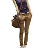 Woman Zipper Fly Button Closed Casual Harem Pants