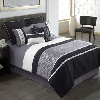 Covington 8-Piece Comforter Set in Grey/Black
