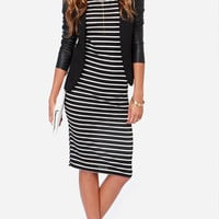 Mountain Retreat Black and White Stripe Midi Dress