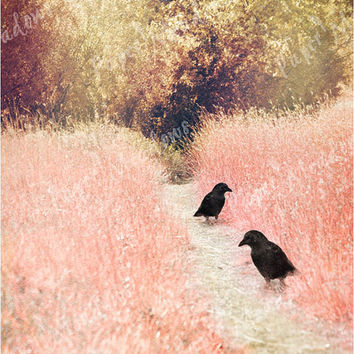 Fairy Tale Landscape Download, Crows, Photo Collage, pink, black, Bird Photography, Raven, Blackbird, photo download, printable bird photo