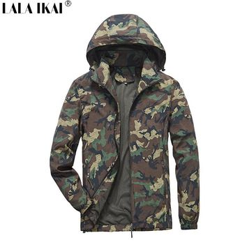 LALA IKAI Hunting Jacket Men Camouflage Spring Hooded Windproof Jacket Trekking Hiking Outdoor Sports Clothes Male HMA0988-5