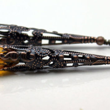 Earring Dangle, Pendant, Drop, Vintage Style Dramatic Yellow Crystal Teardrop with Filigree Copper Bead Cone Cap - 2 Pieces