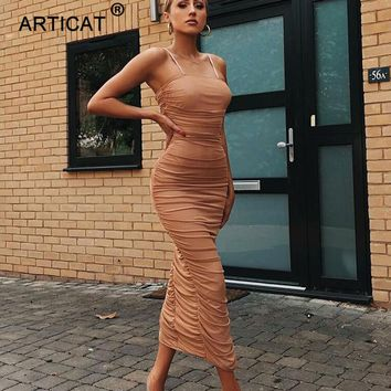 Articat Sexy Sheer Mesh Party Dress Women 2018 Strapless Split Long Maxi Dress Elegant Autumn Bodycon Pleated Dress Vestidos