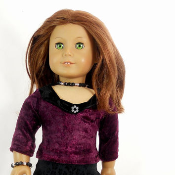 JOELLE American Girl Doll Velvet Top Wine Color