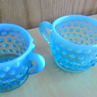Fenton Blue Opalescent Hobnail Vintage Individual Creamer and Sugar Bowl 1939-1955