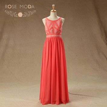 Rose Moda Sleeveless Coral Lace Prom Dress Xmas Prom Dresses 2018