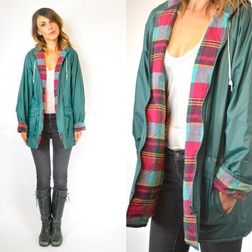 preppy FLANNEL plaid lined HOODED teal oversized RAINCOAT jacket, extra small-small