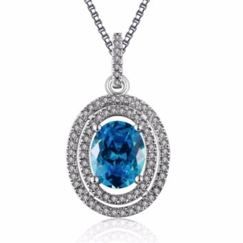 Oval Sapphire Jewelry 925 Silver Filled Vintage Necklaces & Pendants