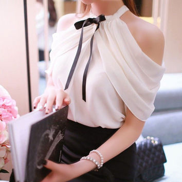 New Fashion Women Lady Sexy White Chiffon Strapless Blouse Summer Shirts Casual Tee Tops Loose Casual Outfits Clothing