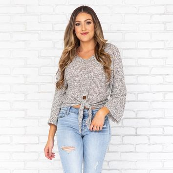 Elemental Speckled Knot Top in Grey