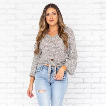 So Loving Speckled Knit Top in Grey