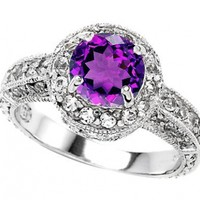 Star K 7mm Round Simulated Amethyst Ring Sterling Silver