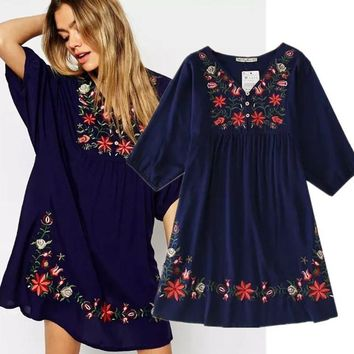 2018 New Arrivals Ethnic Plus Size Flowers Embroidery Mini One-piece Dress For Women Girls Vintage Boho Blouse Vestido